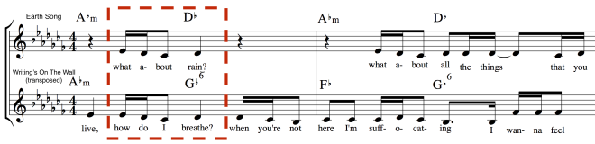 Earth Song (excerpt from verse 1 at [0:51] shares a four-note melodic phrase with Writing's On The Wall (chorus 1, from [01:28]), albeit with different harmonic context on the half-bar.