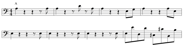 This 8-bar bassline loops identically throughout the song.