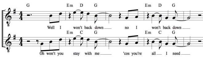 Both excerpts, notated in G major (including chords), so that similarities and differences can be more clearly seen.