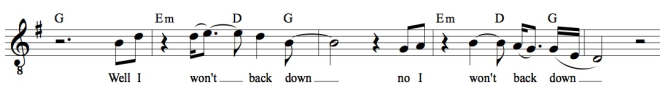 This is the literal transcription of Petty's vocal, complete with his vocal ornaments, which I think most people would agree are performance artefacts as opposed to integral to the song (that is, one might not sing them in a cover version and it would still be the same song).